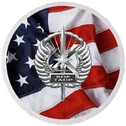 Round Beach Towel featuring the digital art U. S.  Air Force Tactical Air Control Party - Usaf Special Tactics Tacp Badge Over American Flag by Serge Averbukh