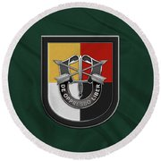 U. S.  Army 3rd Special Forces Group - 3  S F G  Beret Flash Over Green Beret Felt Round Beach Towel