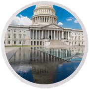 U S Capitol East Front Round Beach Towel by Steve Gadomski