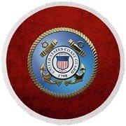 U. S. Coast Guard - U S C G Emblem Round Beach Towel