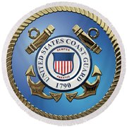 U. S. Coast Guard - U S C G Emblem Round Beach Towel