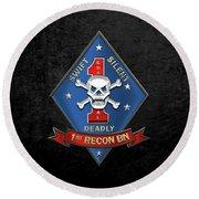 U S M C  1st Reconnaissance Battalion -  1st Recon Bn Insignia Over Black Velvet Round Beach Towel