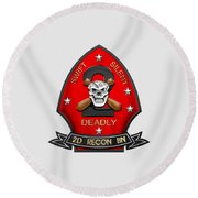 U S M C  2nd Reconnaissance Battalion -  2nd Recon Bn Insignia Over White Leather Round Beach Towel