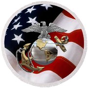 U S M C Eagle Globe And Anchor - C O And Warrant Officer E G A Over U. S. Flag Round Beach Towel