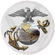 U S M C Eagle Globe And Anchor - C O And Warrant Officer E G A Over White Leather Round Beach Towel