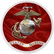 U. S.  Marine Corps - U S M C Eagle Globe And Anchor Over Corps Flag Round Beach Towel