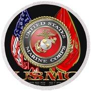 U. S. Marine Corps U S M C Emblem On Black Round Beach Towel