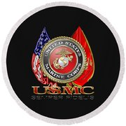 U. S. Marine Corps U S M C Emblem On Black Round Beach Towel by Serge Averbukh