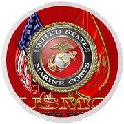 U. S. Marine Corps U S M C Emblem On Red Round Beach Towel