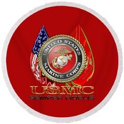 U. S. Marine Corps U S M C Emblem On Red Round Beach Towel by Serge Averbukh