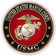 U. S. Marine Corps - U S M C Emblem Special Edition Round Beach Towel