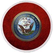 U. S.  Navy  -  U S N Emblem Over Red Velvet Round Beach Towel