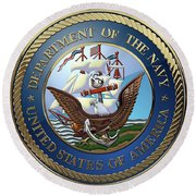 U. S.  Navy  -  U S N Emblem Over Red Velvet Round Beach Towel by Serge Averbukh