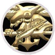 U. S. Navy S E A Ls Emblem On Black Velvet Round Beach Towel