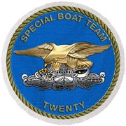 U. S. Navy S W C C - Special Boat Team 20   -  S B T 20   Patch Over White Leather Round Beach Towel
