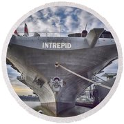 U S S   Intrepid's Bow  Round Beach Towel