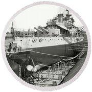 U S S Oregon Battleship In Dry Dock 1898 Round Beach Towel