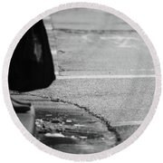 Round Beach Towel featuring the photograph U Stopped Me On My Tracks  by Empty Wall