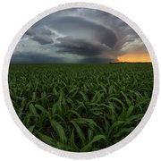 Round Beach Towel featuring the photograph UFO by Aaron J Groen