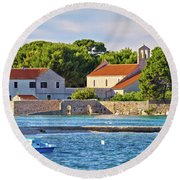 Ugljan Island Village Old Church And Beach View Round Beach Towel by Brch Photography