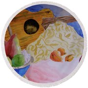 Round Beach Towel featuring the painting Ukelele by Beverley Harper Tinsley