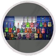 Round Beach Towel featuring the photograph Ukuleles At The Fair by Lori Seaman