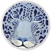 Ultramarine Jaguar Round Beach Towel