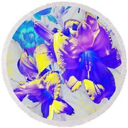 Round Beach Towel featuring the photograph Ultraviolet Daylilies by Shawna Rowe