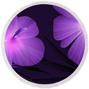 Ultraviolet Hibiscus Tropical Nature Print  Round Beach Towel