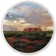 Uluru In The Distance Round Beach Towel