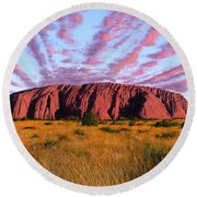 Uluru Sunset Ayers Rock Round Beach Towel