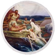 Ulysses And The Sirens Round Beach Towel by Herbert James Draper