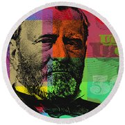 Round Beach Towel featuring the digital art Ulysses S. Grant - $50 Bill by Jean luc Comperat