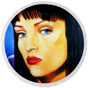 Round Beach Towel featuring the painting Uma Thurman In Pulp Fiction by Bob Baker