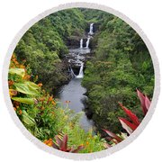 Umauma Falls Hawaii Round Beach Towel