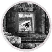 Umbrella Angkor Wat  Round Beach Towel