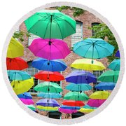 Round Beach Towel featuring the photograph Umbrella Art by Ross G Strachan