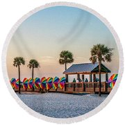 Round Beach Towel featuring the photograph Umbrella Windbreaks At Clearwater Florida. by Brian Tarr