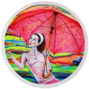 Umbrella.girl Round Beach Towel