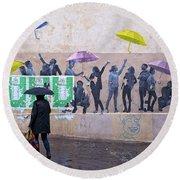 Umbrellas In Paris Round Beach Towel