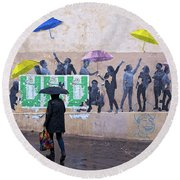 Umbrellas In Paris Round Beach Towel