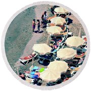 Round Beach Towel featuring the photograph Umbrellas On The Beach - Nerja by Mary Machare
