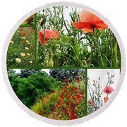 Umbrian Red Poppy Collage Round Beach Towel