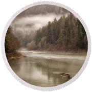 Umpqua River Fog Round Beach Towel
