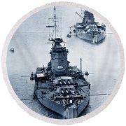 Hms Nelson And Hms Rodney Battleships And Battlecruisers Hms Hood Circa 1941 Round Beach Towel