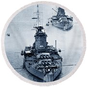 Hms Nelson And Hms Rodney Battleships And Battlecruisers Hms Hood Circa 1941 Round Beach Towel by California Views Mr Pat Hathaway Archives