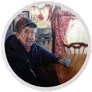 Uncle Harold, Maquoketa, Iowa Round Beach Towel