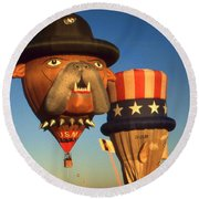 American Hot Air Balloons - Uncle Sam And Bull Dog Round Beach Towel