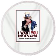 Uncle Sam -- I Want You Round Beach Towel