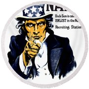 Uncle Sam Wants You In The Navy Round Beach Towel
